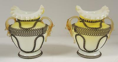 Matched Pair of Antique Victorian Era Art Glass Vases Yellow & White Cased Glass
