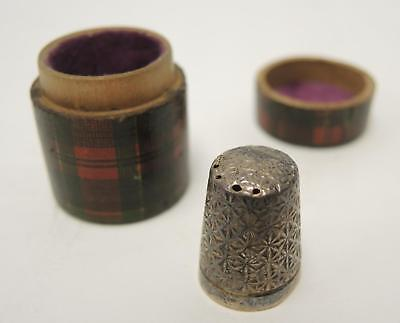 Antique McPherson Tartan Ware Treen Mauchline Cylindrical Thimble Case