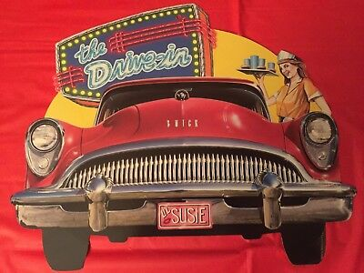 """1954 Buick Cardboard Two-Sided """"Drive-In"""" Sign """"Lil Susie"""""""