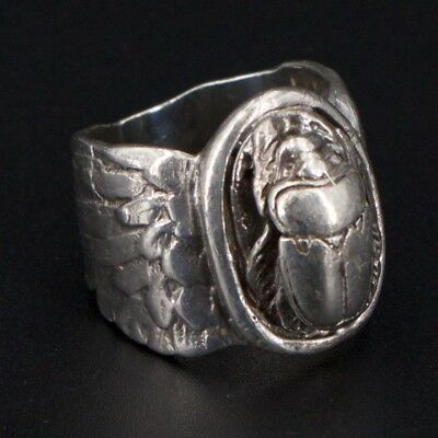 VTG Sterling Silver - Egyptian Revival Scarab Beetle Ring Size 7 - 15.8g