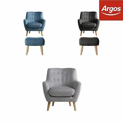 Argos Home Otis Fabric Chair and Footstool - Choice of Colour