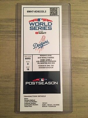 2018 Boston Red Sox @ LA Dodgers 10/28 World Series Game 5 Printed Ticket Stub