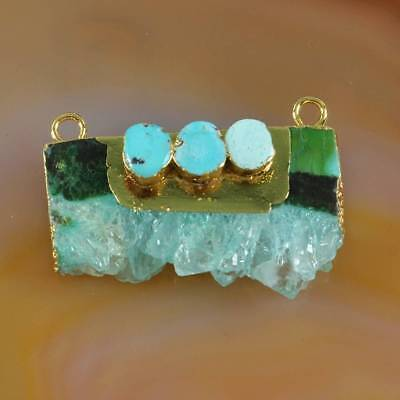 Dyed Green Rare Amethyst Druzy Slice & Turquoise Connector Gold Plated B069204