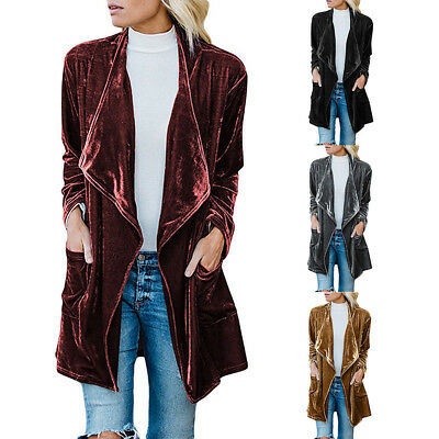 Fashion Casual Womens Drape Velvet Jacket Open Front Cardigan Coat With Pockets