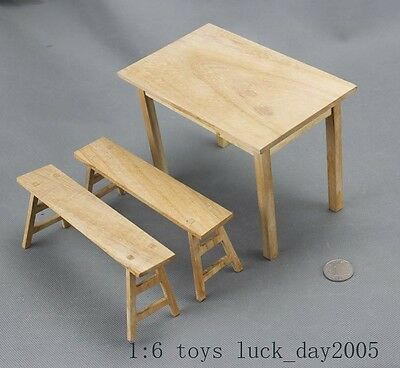 """Toy Model Scene WWI GREMAN Wooden Table & Bench 1/6 Fit for 12"""" action figure"""