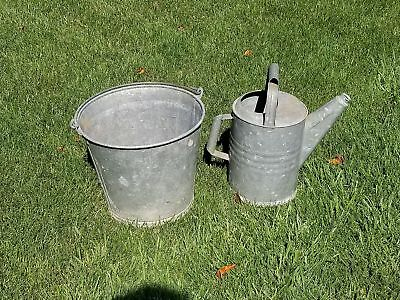"Vintage Old 17"" Galvanized 515 Bucket And 13"" Watering Can Metal Silver Antique"