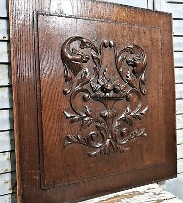 """19"""" GOTHIC SCROLL LEAVES PANEL Antique french wood wall art salvaged paneling"""