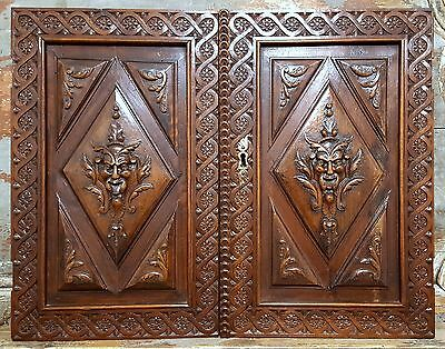 Gothic devil demon panel cabinet door Antique french wooden salvaged furniture