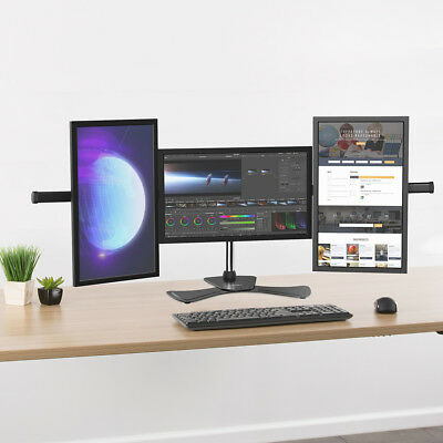 """Home Heavy Duty Triple Freestanding Monitor Stand for 3 15""""-27"""" Display Monitors"""