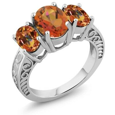3.40 Ct Twilight Orange Mystic Quartz Ecstasy Mystic Topaz 925 Silver Ring