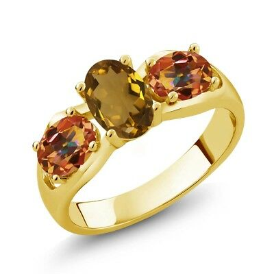 1.70 Ct Whiskey Quartz Ecstasy Mystic Topaz 18K Yellow Gold Plated Silver Ring