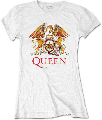 QUEEN Classic Band Logo Crest WHITE WOMENS GIRLIE T-SHIRT OFFICIAL MERCHANDISE