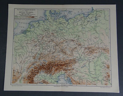 1890s Antique Germany German Issue Color Print~Central Europe River&Mountain Map