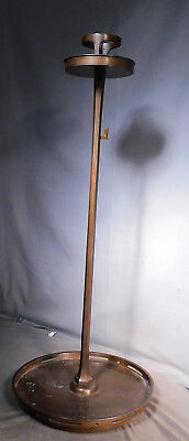 "30"" TALL Antique Meji Bronze Shokudai Temple lamp Candlestick GIANT Marks MODERN"