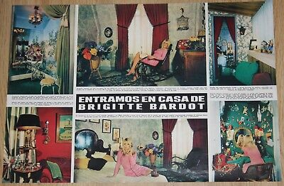 BRIGITTE BARDOT AT HOME 4 page 1969 spain magazine article clippings photos