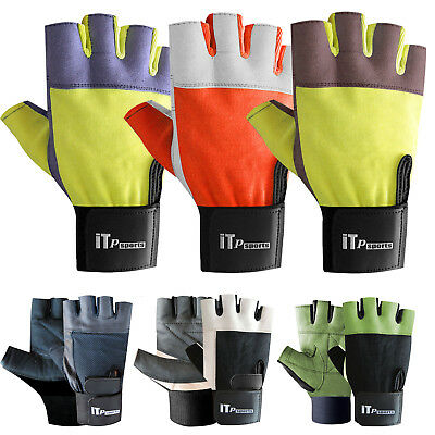 Weight Lifting Gloves Leather Body Building Gym Fitness Gloves Mens