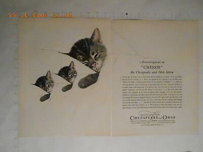1924 Chesapeake and Ohio Railroad Lines Chessie the cat kitten 2 page AD RARE!