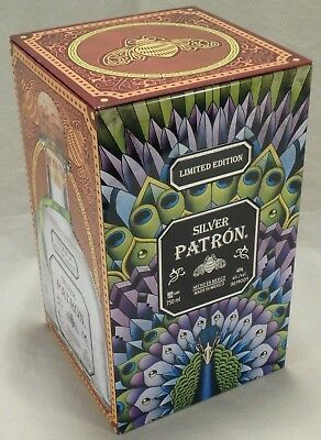 Patron Silver Limited Edition Storage Tin Peacock Leopard Cheetah Container