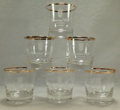 6 Canadian Club CC Imported Whisky Rocks Glasses Hiram Walker Gold Rim USA