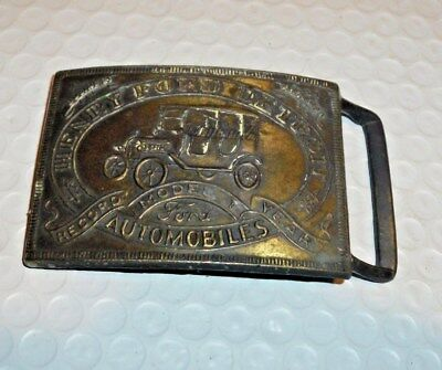 Vintage HENRY FORD Detroit Automobile Record Year Model T Brass Belt Buckle