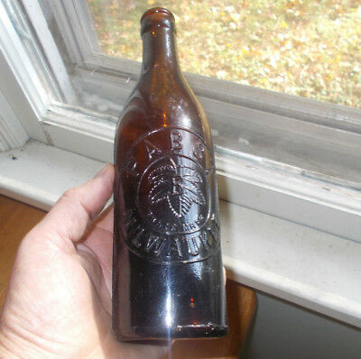 Pabst Milwaukee Emb Hop Leaves Amber Hand Blown Pre Pro Beer Bottle Circa 1906