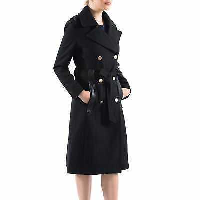 Alpine Swiss Womens Wool Blend Double Breasted Belted Trench Coat Long Jacket