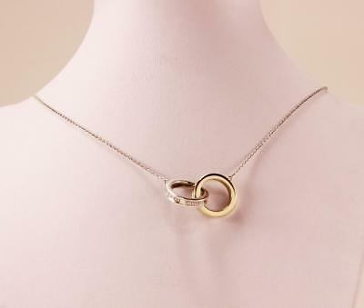 Tiffany & Co. 1837 925 Sterling Silver 18K Gold Interlocking Circles Necklace