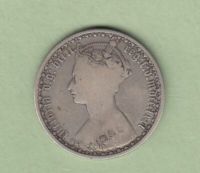 1871 Great Britain One Florin Silver Coin - VG/Fine