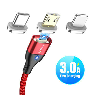 FLOVEME 3A Fast Charging USB Lightning Micro Type C Magnet Charger Phone Cable