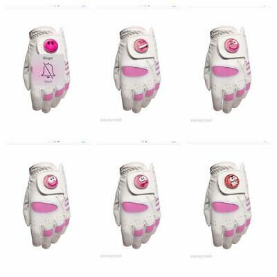 Ladies All Weather Golf Glove. Size Medium. Pink Smiley Ball Marker. Left Hander