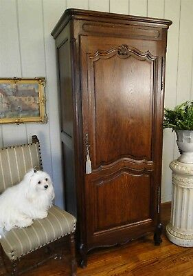 Antique French Country Armoire Tall Narrow Dark Oak ~ Carved ~ Key Shell