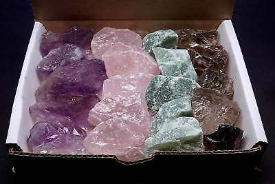 QUARTZ Collection 4 Colors Amethyst Smoky Rose & Green Natural Crystal Stones
