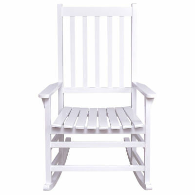 White Wood Rocking Chair Porch Outdoor Patio Furniture Wide Seat Antique Style