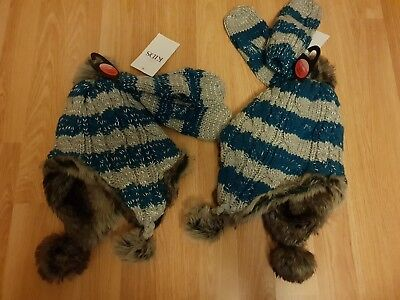 2x GIRLS Trapper Style Hat/Mittens Blue & Silver BNWT M&S age 6 7 8 9 10 ? twins