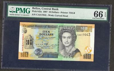 *1997 BELIZE, CENTRAL BANK $10 PICK #62a PMG 66  EPQ PLEASE  LQQK!!