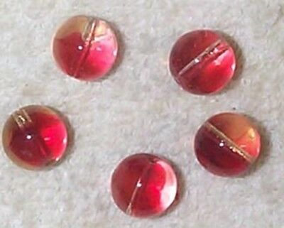 Vintage Rose Pale Red  Givre Japanese Fabulous Glass Beads  16 Beads Red/clear