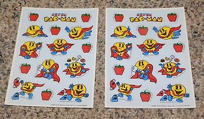 RARE 1982 Super Pac Man Video Game Sticker Sheets UNUSED Scrapbooking
