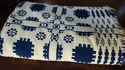 1800s Antique Handwoven Overshot Wool Coverlet Blue Pink 72x96 Snowball Bow Knot Linens & Textiles (pre-1930)