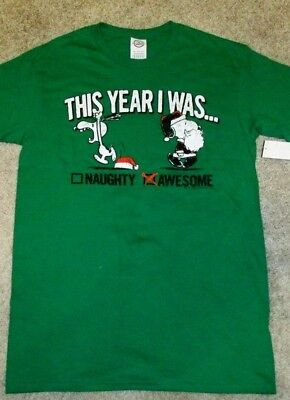 Ss Snoopy Peanuts Christmas 'naughtyamp; Green Mens T shirt Awesome' bgyYf76