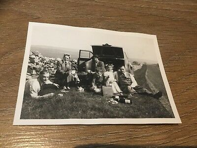 Vintage Photograph Family Day Out Black & White 4in x 3in
