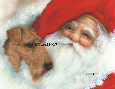 Airedale Terrier and Santa Note cards