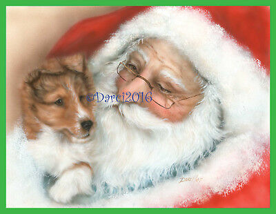 Sheltie Pup and Santa Note cards