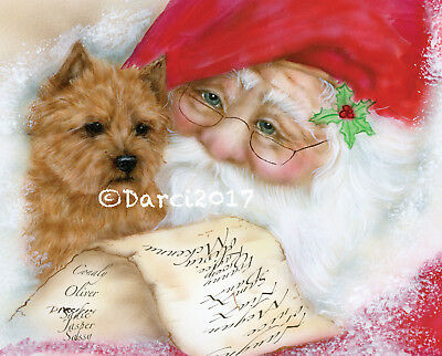 Norwich Terrier and Santas list Note cards
