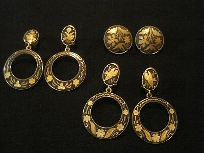 Vintage Lot Of 3 Spanish Damascene Earrings Toledo Black Engraved Gold Designs