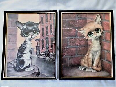 Pair of Vintage 1960s Big/Sad Eye Cat/Kitten Prints Framed Under Glass
