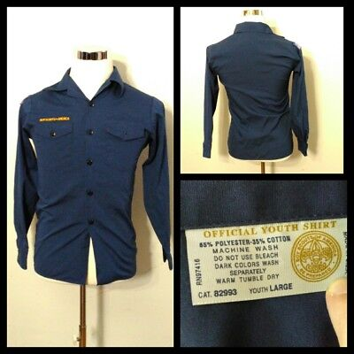 Boyscouts of America Shirt Youth Lg. Navy Blue Button-Front Long Sleeve Inv#S875