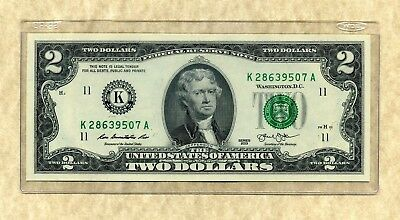 $2 DALLAS 2013 UNCIRCULATED #K/A Two Dollar Bill Note + CURRENCY HOLDER