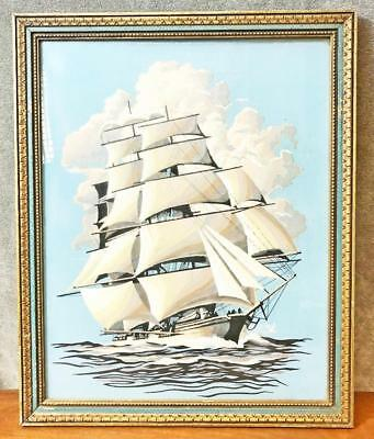 Vintage CLIPPER SHIP PAINTING Paint by Number framed wall art nautical maritime