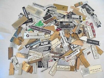 Large Lot of Vintage Electronics / Record Player Name Plate Badges / Tags
