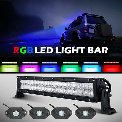 """22/"""" INCH 400W LED Light Bar Offroad Bluetooth Music Multi Color Change 20/"""" 21/"""""""